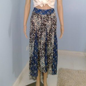 Free People Asymmetrical Blue And Black Maxi Skirt